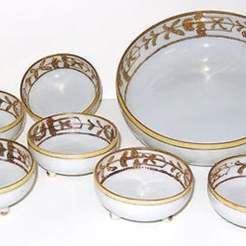 Antique TS Nippon Porcelain Nut Dish Bowl Set 7 Raised Enamel Christmas Gold