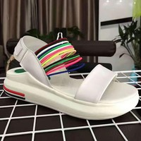 The summer Rainbow hollow sandals shoes white H-ALXY