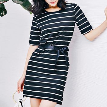 Summer new side slit striped half-sleeved T-shirt dress in the long paragraph skirt