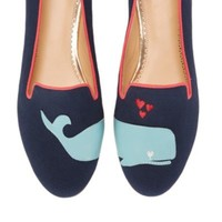 Women's Flats - Whale Canvas Smoking Slipper | C. Wonder
