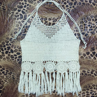 Limited Handmade Tassel Knitting Crochet Blouse swimwear Tank Top Vest for Womens Summer Gift-53
