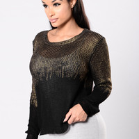 Fire To The Rain Sweater - Black/Gold