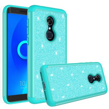 Alcatel Revvl 2 Case, Alcatel 3 Case, Glitter Bling Heavy Duty Shock Proof Hybrid Case with [HD Screen Protector] Dual Layer Protective Phone Case Cover for Alcatel Revvl 2 W/Temper Glass - Teal