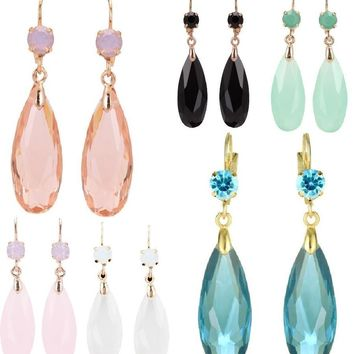 ON SALE - Fascinating Long Teardrop Bead and CZ Dangle Earrings ~ Six Colors to Choose!