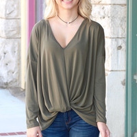 Knot Your Basic Long Sleeve {Olive}