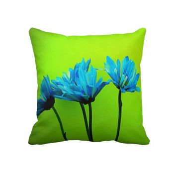 Teal Turquoise Daisies Flowers Lime Green Pillow from Zazzle.com