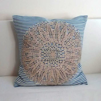 Lace pillow cover, vintage crochet lace pillow, handmade fabric pillow cover