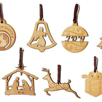 Set of 12 Laser Engraved Wooden Christmas Tree Ornament Gift Seasonal Decoration