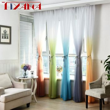 Modern Hotel Decoration Window Yarn Cortinas Living Room Gradient Tulle Curtain For Bedroom Curtain Sheer For Balcony W185#2
