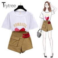 Trytree Summer Women two piece Set Casual Cotton O-Neck Cartoon Print Tops + Shorts Pocket Buckle Fashion Suit Set 2 Piece Set