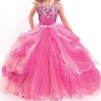 pink glitz pageant dresses for little girls prom dresses size 8 12 kids evening blue ball gown long blue flower girl dresses
