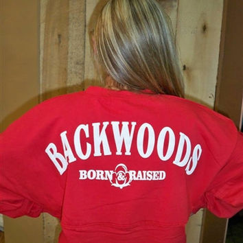 SALE Backwoods Born & Raised Red Spirit Bright Long Sleeve T Shirt Jersey