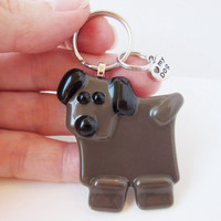 Dog Keychain - Fused Glass Keychain - Animal Keychain - Keychain Charm - Key ring - Gift Under 10 - Dog Lover Gift