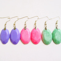 Oval Dangle Earrings, Polymer Clay Earrings, Neon Pastel Earrings, YOU CHOOSE COLORS - Gem Candy Collection