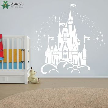 Fairy Castle Wall Sticker For Kids Room Girls Baby Bedroom Wall Decal Kids Nursery Rooms Princess Design Home Decor Mural SY146