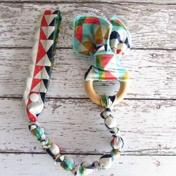 Snap On Teether. Bunny Ear Teether. Organic Wooden Teether to match MJ Cornered SSC - RTS