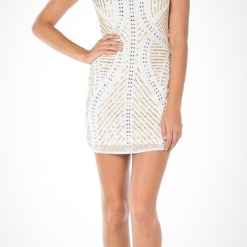CLEARANCE - Off White/Gold Halter Sequins Spaghetti Strap Fitted Party Dress Short (Size Small)