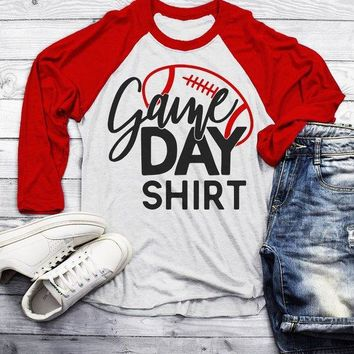 Men's Football T Shirt Game Day Shirts Support Dad Raglan 3/4 Sleeve Parent Shirt