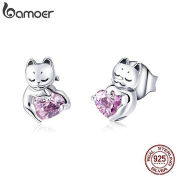 Silver Cat Pink Cubic Zircon Small Stud Earrings