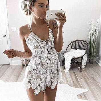 Laken White Lace Romper