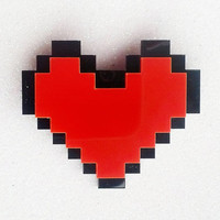 Pixel Heart Brooch: PIXEL HEART Red and Black Laser Cut Acrylic Pixel Heart Brooch