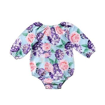 Newborn Baby Girls Clothing Fashion Infant Girl Long Sleeve Floral Romper Newest Jumpsuit Spring Autumn Baby Girls Romper