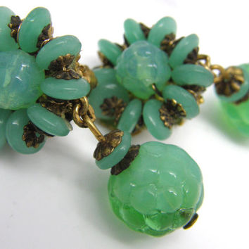 Vintage Signed Miriam Haskell Green Opaline Glass Bead Dangle Clip on Earrings teamvintageusa ecochic team