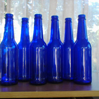 NEW LOWER PRICE 6 recycled Cobalt blue glass bottles  for a bottle tree/ fairy garden / slumping / crafts etc