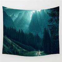 Mountain Forest Sun Light Viewpoint Wall Tapestry