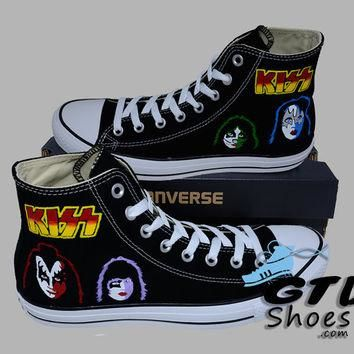 Hand Painted Converse Hi. Kiss, Gene Simmons, Paul Stanley, Eric Singer, Tommy Thayer.