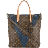 Louis Vuitton Monogram Blue Men's Carryall Top Handle Travel Tote Shoulder Bag
