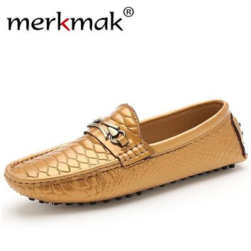 Merkmak Brand Shoes Luxury Fashion Men Shoes Alligator Genuine Leather Loafers Men Casual Driving Shoes Mens Flats Mans Hombre