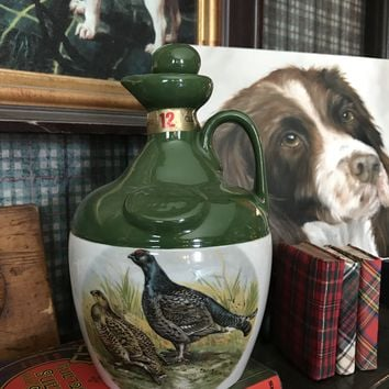 Vintage Pheasant Grouse Quail Decanter / Vase  Montrose Potteries SCOTLAND JUG DECANTER / FLAGON
