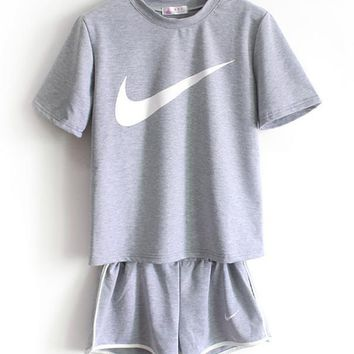 Nike Women Casual Short Sleeve Top Sport Gym Sweatpants Set Two-Piece Sportswear-2