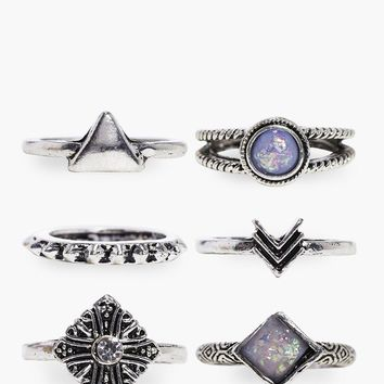 Paige Stone Set Ring Pack | Boohoo