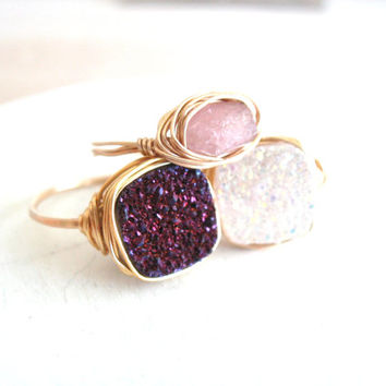 Druzy Ring Amethyst Vitrine Cocktail Ring Cushion ring Statement ring Gift for her Under 50