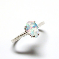 "Opal ring, solitaire ring, birthstone ring, s 6 ""Pastel"""