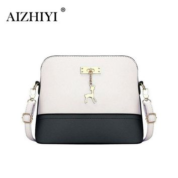 Women Messenger Bags Fashion Bag With Hardware Deer Toy Vintage Small Shell Shape Leather Handbag Women Shoulder Crossbody Bags
