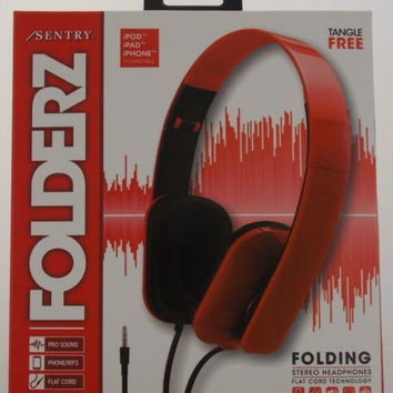 Sentry Folderz Folding Stereo Headphones Red DLX20 Tangle Free Flat Cord 3.5mm