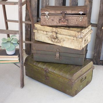 Rustic Metal Antique Suit Cases (Set of 4)