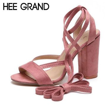 HEE GRAND 2018 New Women Thick Heel Summer Sandals Cross-tied Ankle Lace Flock Vamp Lady's Pumps Mujer Fashion Shoes XWZ4926