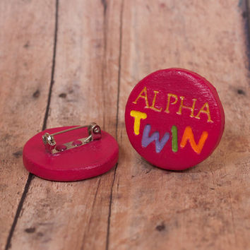 Alpha Twin Pinback Button, Gravity Falls Inspired Pinback Button, Mabel and Dipper Pines Button, Mystery Twins, Gravity Falls, Oregon Disney