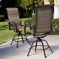 Set of 2- Patio Dining Chair Bar Stools with Swivel Sing Padded Seat in Bronze