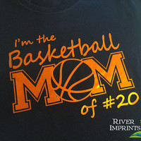 BASKETBALL MOM personalized in cursive, shiny foil t-shirt with your choice of color-- fitted, regular, or long sleeve