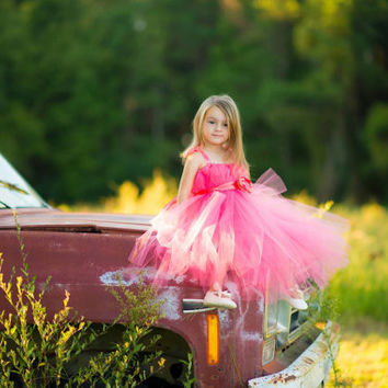 Coral Junior Bridesmaid Dress  Coral pink Flower Girl Dress Flower girl tutu Dress Tulle Flower girl dress Coral Bridesmaid Dress Tutu Dress