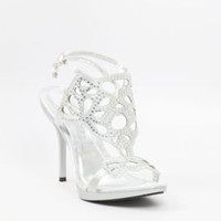 Wedding Shoes, Silver Heels, Bridal Sandals, Promshoe-800-36