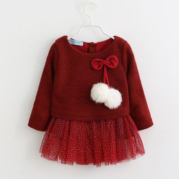 Baby Girls Dress 2017 Winter Newborn Long Sleeve Knitted Warm Princess Dresses Children Bow Vestido Infantil Menina Kids Clothes