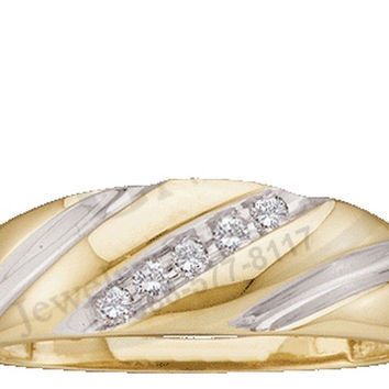 10kt Yellow Gold Mens Diagonal Round Diamond Wedding Anniversary Band Ring 1/10 Cttw 18471
