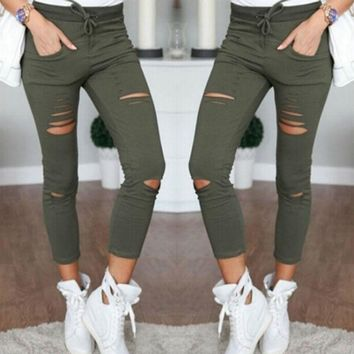 Women's Pencil Stretchy Pants Casual Denim Skinny Mid-Rise Ripped Destroyed Frayed Mid Waist Essential Slouchy Jeans Trousers