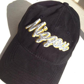 Custom Made MIZZOU Bling hat, rhinestone hat, bling, hat, bling hat, custom hat, baseball hat, cheer mom, team mom, missouri, baseball hat